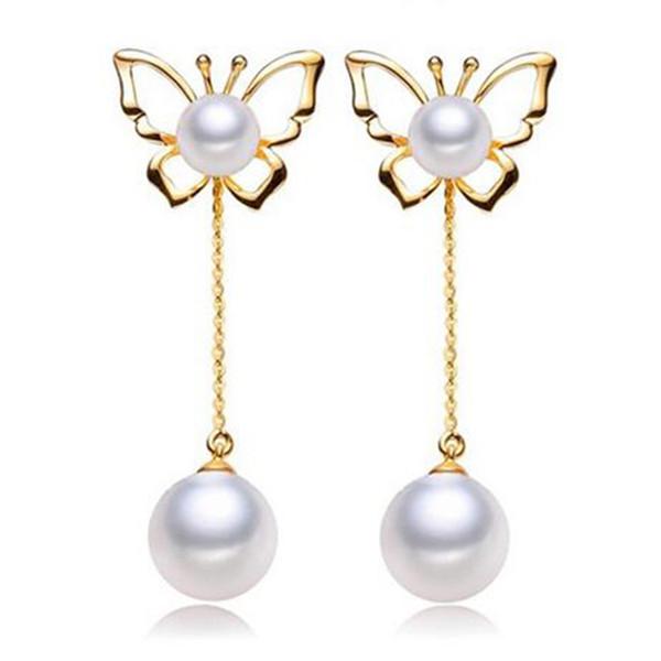 S925 Boucles d'oreilles en argent avec perles d'oreille Bijoux avec bouchon d'oreille en argent 925 Papillon classique changer quatre portant des boucles d'oreilles