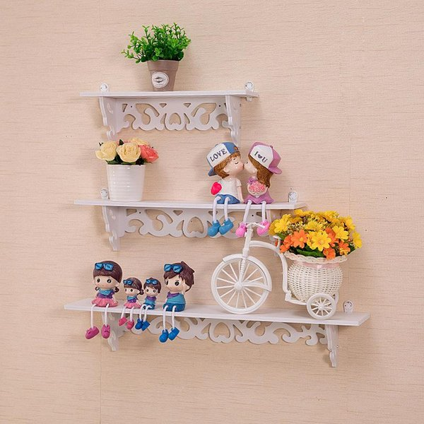 Wall Mounting Type Storage Holders Hollowed Out Design PVC Wood Plastic Plate Shelf Rack Durable Mildew Proof Flowerpot Stand White 10hx3 BB