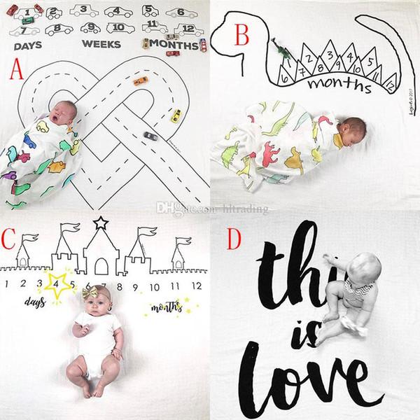 INS замок динозавр печати одеяла фотографии фон реквизит одеяла младенческой пеленание письмо цифровой новорожденный обертывания 100 * 100 см C4165