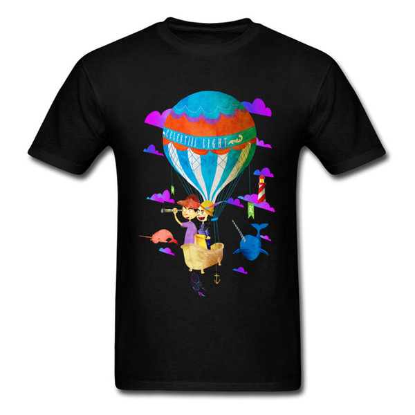 2018 Celestial Light T-Shirt Design Mans Party Tee Shirt For Sale Cartoon Hot Air Balloon Print Black Short Sleeve Clothing