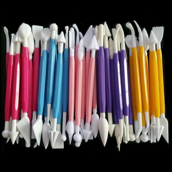 8 unids / lote cocina herramientas para hornear kits fondant herramientas de decoración de pasteles set plástico pastel grabado bolígrafos de corte herramientas de pastelería crema