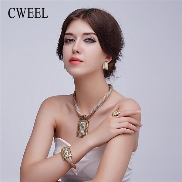 CWEEL 2018 Neue Schmuck Sets Frauen Exquisite Dubai Hochzeit Schmuck Gold Farbe Afrikanische Perlen Großhandel Design Schmuck-Set