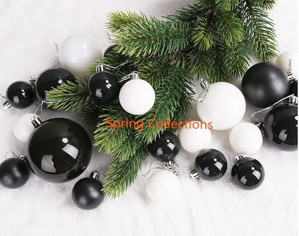 4/6 / 8cm Bianco / Nero Albero di Natale Albero opaco Palla Bauble Hanging Home Party Ornament Decor Natale forniture 12pcs / set