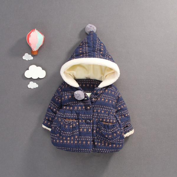 Warm Winter Children Baby Kids Girls Infants Ball Hooded Thicken Printed Flora Velvet Jacket Coat Cardigan Outwear Casacos S7827