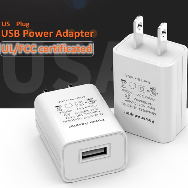 High Quality Universal 1-Port 5V 1A USB AC Travel Power Adapter US Plug Cell Phone Wall Charger For iPhone Samsung Android Tablet