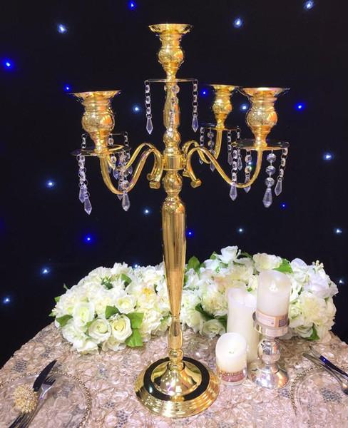 Acheter 63cm Hauteur Or Mariage Vase En Métal Candélabre Candélabre Table Centre De Table Fleur Stand Décoration De Mariage De 56181 Du Slchinapp