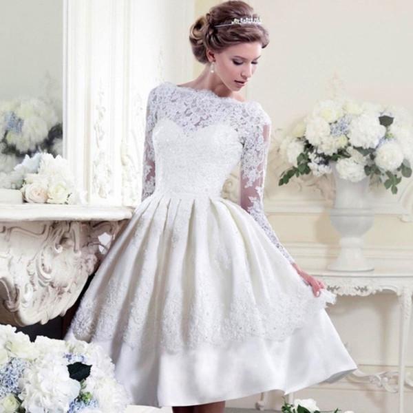 2018 Elegant Sheer Neck Tiered Skirt Knee Length Wedding Dresses Open Back Long Sleeve Appliques Lace Short Wedding Dresses Vestido De Novia