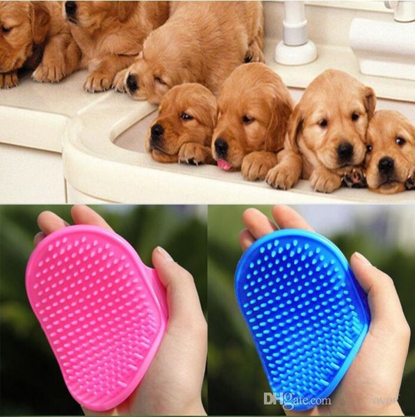 Dog Cat Bath Brush Dogs Hair Shedding Trimming Brushes Pet Comb Rubber Glove Fur Grooming Massage Device PINK Blue Red Optional 2287