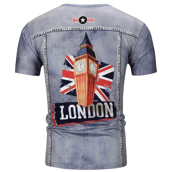 Мужская лето с коротким рукавом Eurocode личность тенденция 3D печати T-воротник досуг мода полу-рукавами рубашки