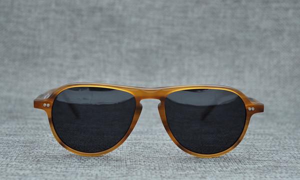 2018 Yeni pilot güneş gözlüğü tek köprü Sarışın polarize güneş gözlüğü 52-18-145 saf tahta çerçeve tam set vaka OEM-fabrika