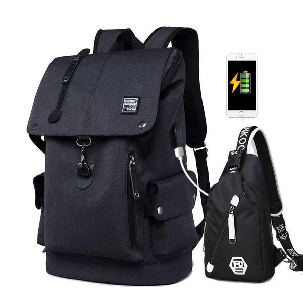 2018 New Kids School Bags 2 Pcs Usb Anti Theft Travel Backpack High Capacity Waterproof Shoulder Book Bag For Teenager Boys Girl