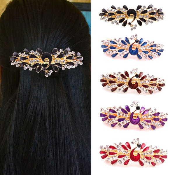 New Chic Vintage Women Crystal Rhinestone Peacock Hair Barrette Clip Hairpin