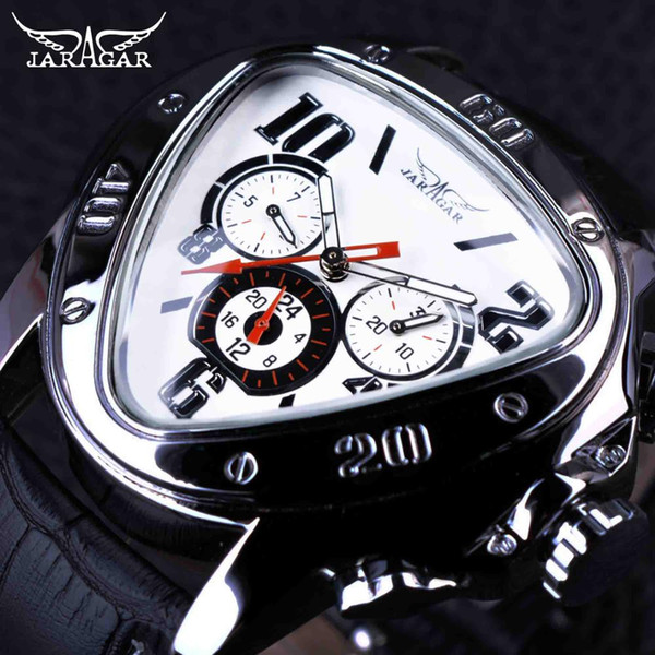 JARAGAR Top Luxury Mens Watches Men Triangle Shape Automatic Mechanical Watches Auto Date Wristwatch Relogio Masculino SLZa46