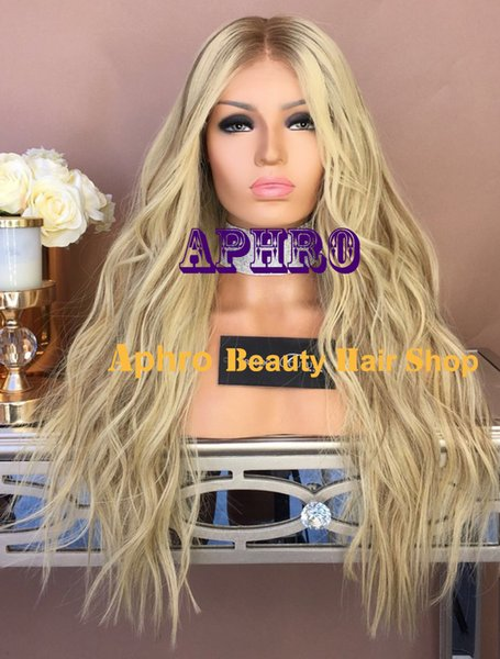 "Luxury Blonde with Lowlights Silk Top Full Lace Wigs With Dark Roots 5x5 inch Silk Base 20""-30"" 180% Density European Hair Full Lace Wigs"