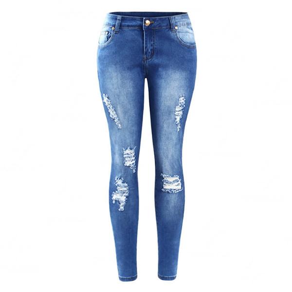 Solma Yırtık Kot kadın Gerçek Denim Skinny Sıkıntılı Jeans Kadınlar Için Jean Kalem Pantolon Ücretsiz Kargo