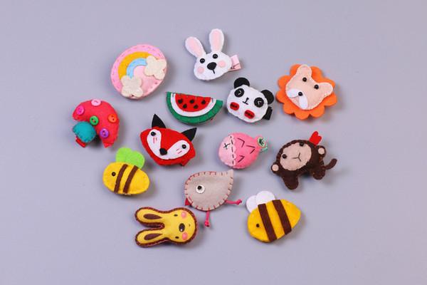 40pcs Fashion Cute Felt Animals Fox Panda Lion Monkey Bee Rabbit Hairpins Solid Kawaii Cartoon Hair Clips Headware Accessories