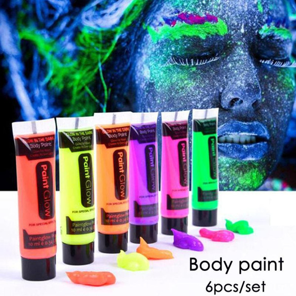 UV Glow Neon Face & Body Paint 6 x 10ml SET Random Fluorescent World Cup Party 6PCS/SET