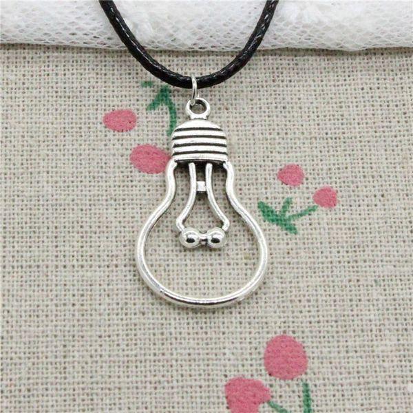 Creative Fashion Antique Silver Pendant light bulb 19*35mm Necklace Choker Charm Black Leather Cord Handmade Jewlery