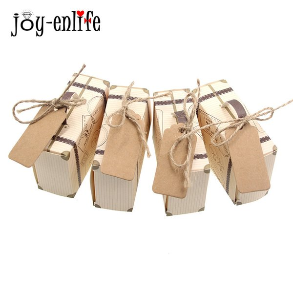 JOY-ENLIFE 50Pcs Europe Type Restoring Ancient Ways Luggage Compartment Wedding Candy Box Wedding Gifts For Guests 8*3*5cm