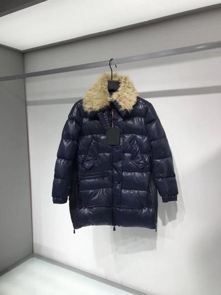 Frauen Winterjacke Damen Echt Fox Pelzkragen Duck Down Inside Warm Coat Femme Langen Mantel 812