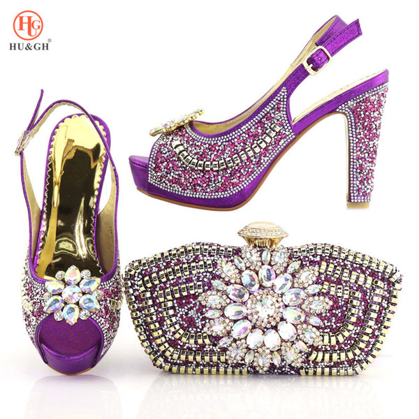 2018 Purple Color Rhinestone Woman Shoes And Bag Set Summer Open Toe High Heels Shoes And Bag Set For Wedding Party Size 38-42