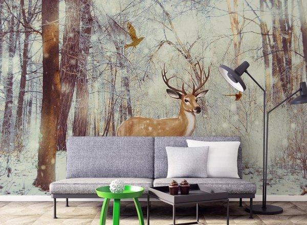Modern 3D Wallpaper Living Room Elk Forest Wallpaper Home Decor Waterproof Wallpaper For Bathroom High Quality
