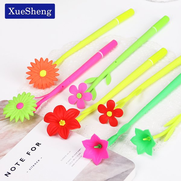 4PCS New Creative Office Stationery Lovely Simulation Plant Flowers Soft Silicone Gel Pen Black Ink 0.38MM for Student Learning