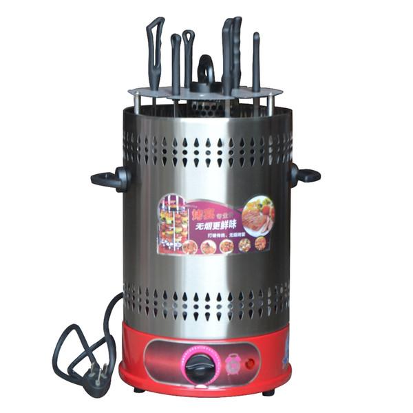 6pcs Pinchos de interior sin humo Autorrotación Parrillas de barbacoa Estufa de calefacción en el hogar Multifunción Barbacoa eléctrica con temporizador ajustable