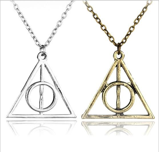 top popular Fashion Jewelry The Deathly Hallows triangle Necklace Antique Harry Silver Bronze Gold Deathly Hallows Pendants Potter 2019