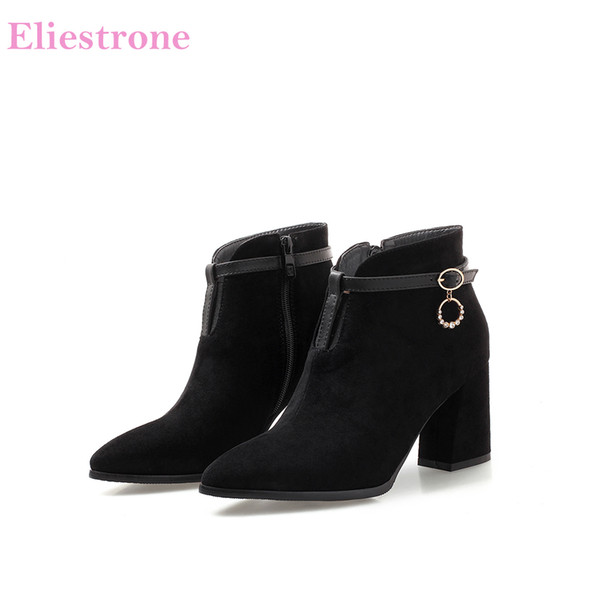2018 Brand New Inverno Elegante Marrom Preto Mulheres Ankle Riding Boots Sexy Lady Sapatos de Salto Quadrado AB287 Plus Size Grande 32 43 45 47