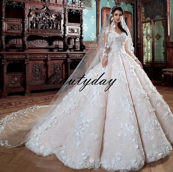 Vestidos De Casamento A Linha de Laço Africano Para A Noiva Nigeriana 2019 Flores 3D Do Vintage Vestido de Casamento Árabe Lace Vestidos De Novia