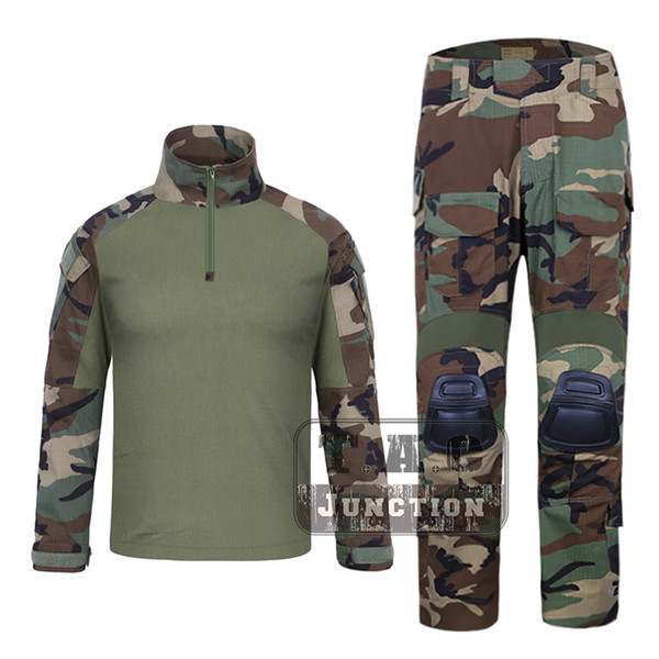 EmersonGear G3 Combat Shirt Pants WoodLand Tops + Pantaloni Set Tactical Caccia GEN3 Camouflage BDU Set uniforme