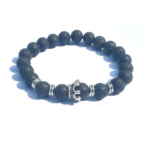 Classic Crown Charms 8mm Aromaterapia Black Lava Stone Volcanic Rock Pulsera Mujeres Essential Oil Difusor Strand Jewelr