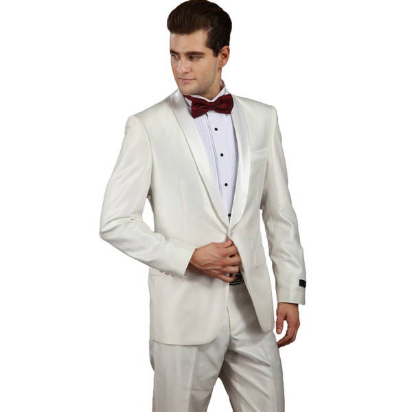 Groom Suit For Wedding 2018 Latest Coat Pant Design Suits Set With Pants Male Bright White Slim Fit Costumes Black-tie Dress