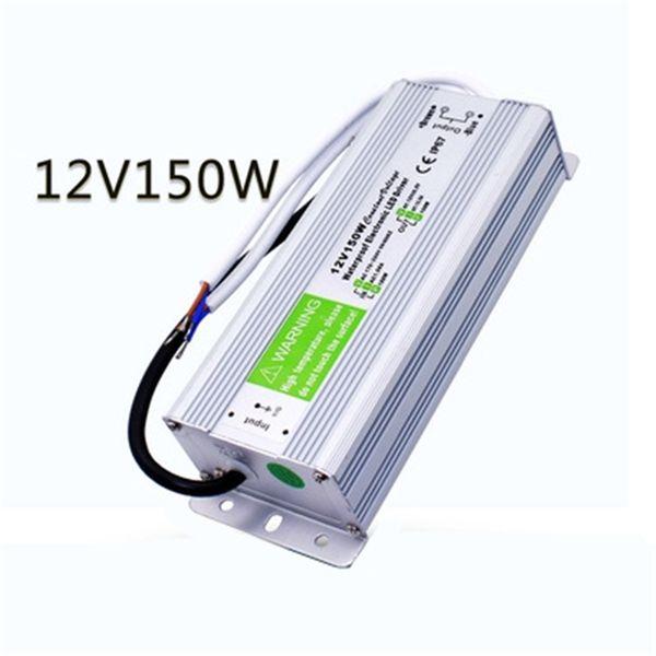 best price 1 pcs 12V 150W Waterproof Electronic LED Driver Power Supply Transformer 170V-250V 12v 12.5a IP67 outdoor power