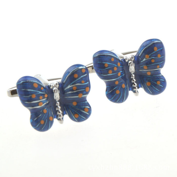 Mancuernas de diamantes de imitación de mariposa azul girasol fino para hombres y mujeres Mancuernas de ropa