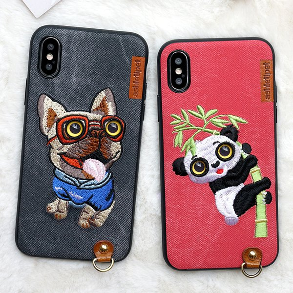 For iPhone X 3D Embroidery Cartoon Cute Dog Cat Owl For iPhone 7 Plus 8 Plus Cases All-inclusive Lanyard Protective Back Cover M11