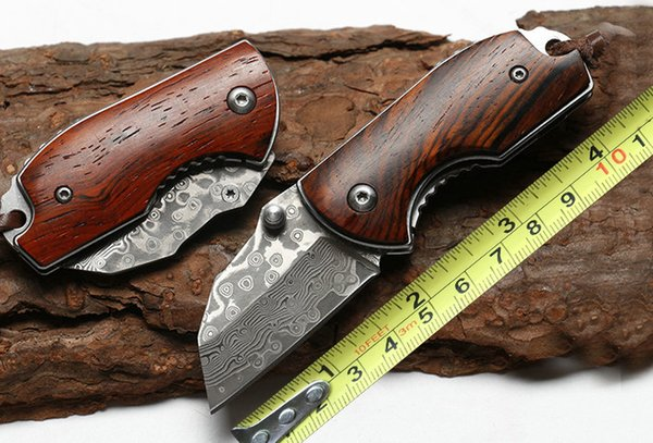 Mini Folding Knife VG10 Damascus 58-60HRC Blade Rosewood Handle Outdoor Survival Knives Keychain Folder EDC Tool 2.56 Inch Closed P200F