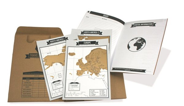 Popular Travelogue map Scratch Map Travel log tourist maps Notebook Best Travel Gift with 8 mini World
