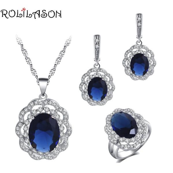 ROLILASON Jubiläumsfeier Deep Blue Zirkon Runde Blume Design Für Frauen Silber Ohrringe Halskette Ring schmuck-set JS774