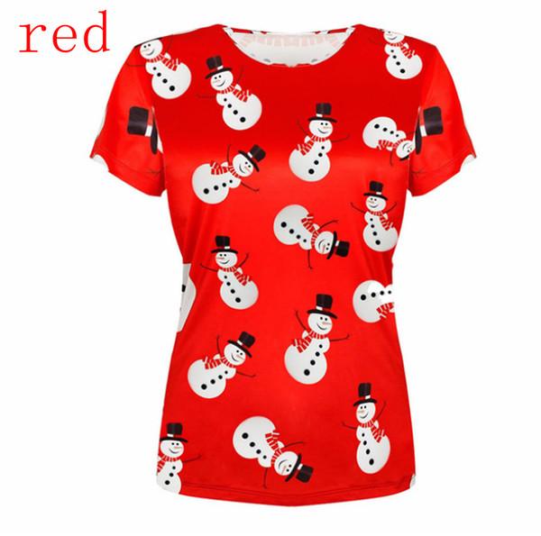 Новая мода женская / мужская 3D печать Рождество снеговик Спорт Повседневная футболка R027