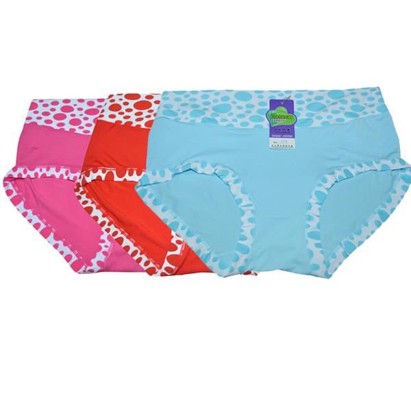 300PCS/ LOT Milk silk Underwear Women Comfortable Slim Panty Briefs Mid-Rise Dot Print Panties Sexy Lady Brief Femme