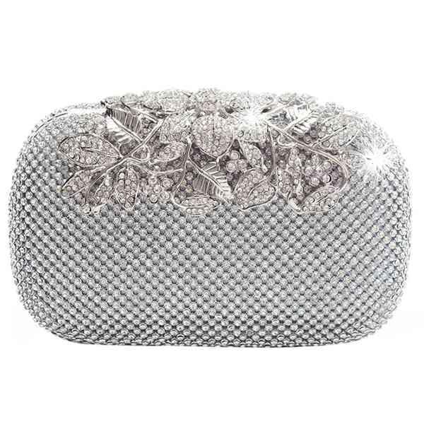 Bolso de noche de las mujeres 2018 Bolsos de embrague de cristal de la boda Bolso de la cadena del Rhinestones del monedero de la boda Hombro