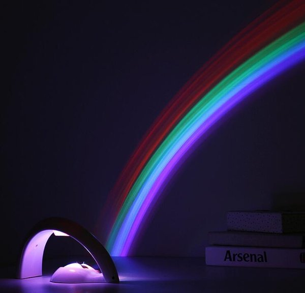Free shipping 2018 NEW Arrival Lucky Rainbow Light Amazing Rainbow Projector 3D LED Lamp Baby Room Night Light Projector Home Decoration