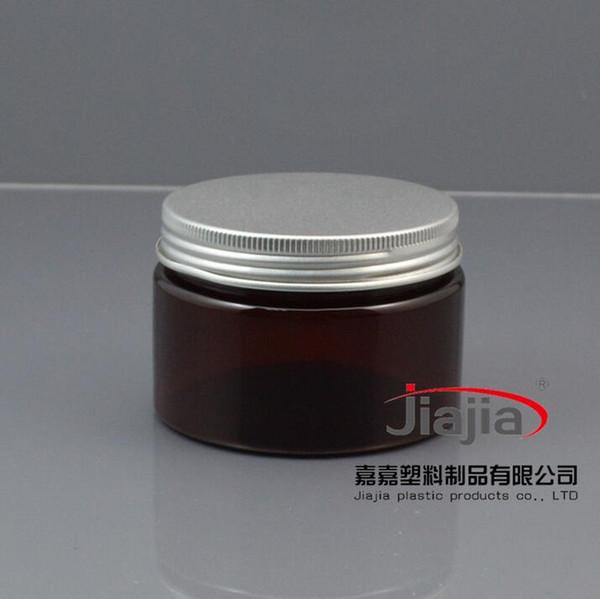 Livraison gratuite: 120ml brun PET POMMADIER Cometic Emballage 120g PET Pot Récipient en plastique avec de l'argent mat couvercle en aluminium