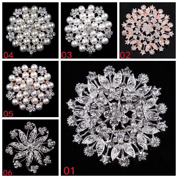 Korean water drop brooch ladies' silk scarf button alloy plating rhinestone crystal pearl flower brooch pins bridal hand flowers accessories