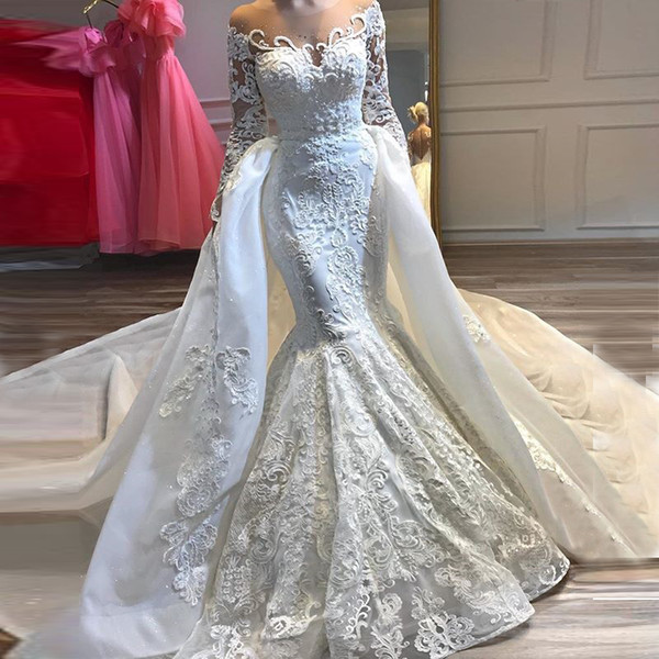 2019 sheer neck long sleeve mermaid wedding dress bridal gown custom made lace applique detachable tail floor length wedding gown, White