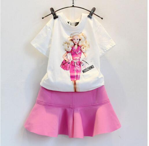 Wholesale- 2016 summer clothing set new baby girls cotton cartoon print t shirts+pink skirts 2pcs kids casual outfits suit European Style