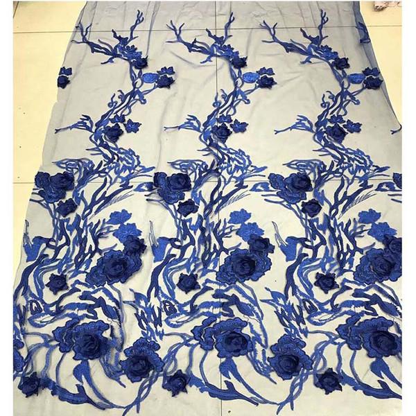 Tela del cordón de las flores 3D de alta calidad con cuentas de tela de encaje francés azul cielo de tul africano tela de encaje para el vestido nupcial