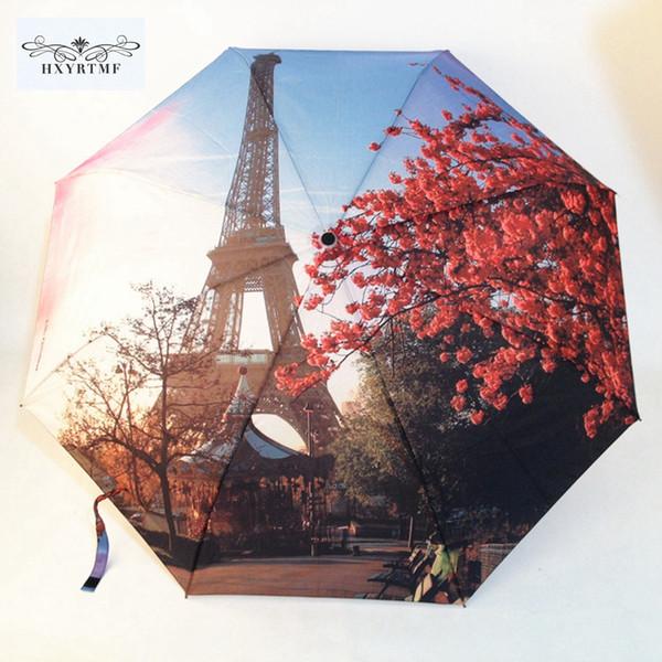 Men Women Paris Tower Oil Painting Umbrellas Big 3 Folding Fashion Automatic Umbrella Anti-UV Sun/Rain Umbrella Parasol Sunshade